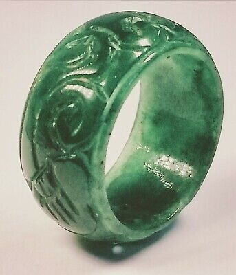 Antique 1920's Chinese Hand-Carved Apple Green Jade Ring Size 10.75