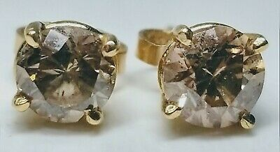 Fine 14K Yellow Gold and 0.5ct Yellow Diamond Stud Earrings Push Back