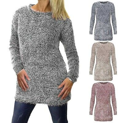 NEW LADIES MOHAIR LOOK SOFT MARL KNIT JUMPER WOMENS LONG FLUFFY WARM WINTER TOP