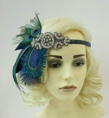 Navy Blue Green Dark Grey Silver Feather 1920s Headband Flapper Headpiece 7632