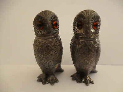 Antique Pair of Silver Plate Owl Pepperettes With Amber Glass Eyes