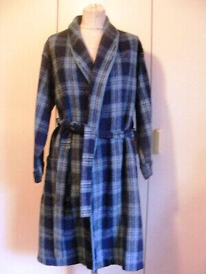 Gents 1950s Vintage warm dressing gown robe blue tartan brushed cotton Hortex M