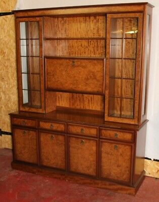 Large 1960s Walnut Bookcase with Display Cabinets