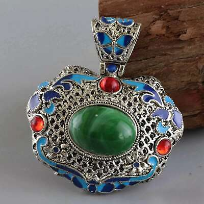 Collect China Old Miao Silver & Cloisonne Hand-Carved Butterfly Delicate Pendant