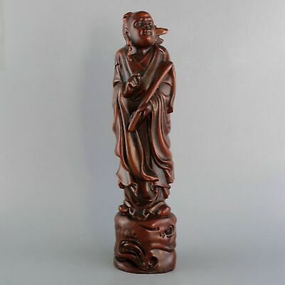 Collect Handwork China Antiquated Boxwood Carve Old Immortal Auspicious Statue
