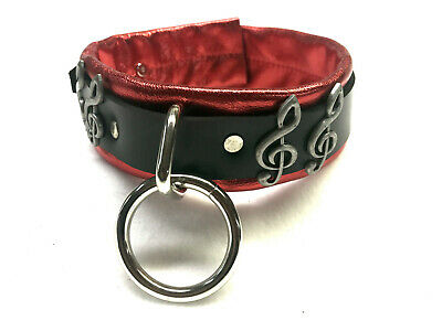 Metallic Restraint leather collar with Ring Treble clef (music note symbol