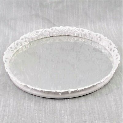 Vanity Perfume Tray Oval Metal Paint White Etched Paisley Design Mirror