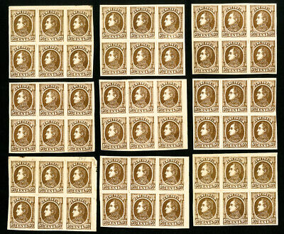 Venezuela Stamps Lot of 54 Early 50¢ Browns in Large Blocks