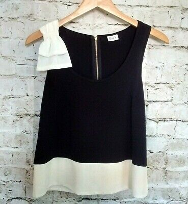 Suzy Shier Womens Dressy Sleeveless Blouse Top Petite Size S Black Ivory Bow