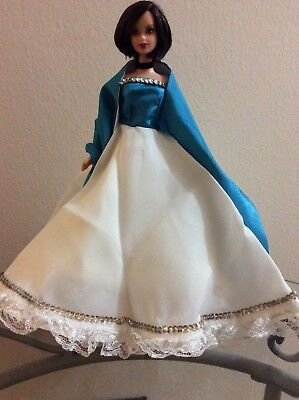 Dress for Barbie White N Blue Bodice With Matching Scarf Ruffles Beaded Accents