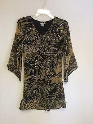 Women/'s Printed Embellished Polyester Missy Size Tunic Top Blouse S-M-L-XL NWT.
