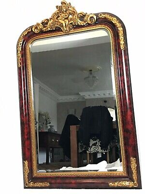 Large French Empire Boulle Style Gilt Cherub Acanthus Pier Bevelled Wall Mirror