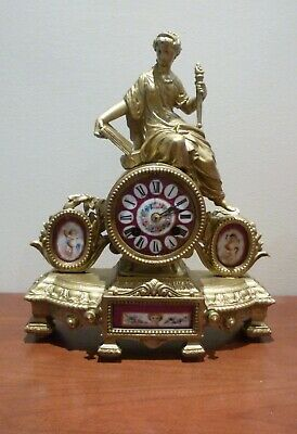 A Fine Figural Mantle Clock Dial And Panels In Porcelien