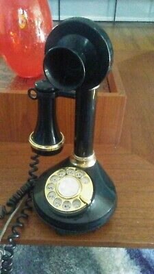 1973 Black CANDLESTICK TELEPHONE Rotary Phone, American Telecommunications