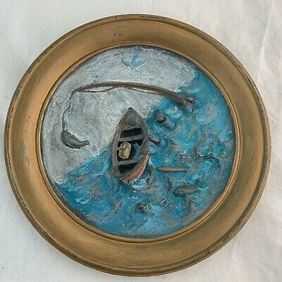 Antique Cast Iron Wall Hanging Plaque 3D Boat Fish Fisherman Sea Hand Painted