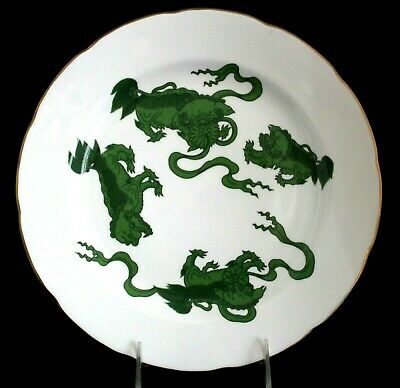 Wedgwood Chinese Tigers-Green Dinner Plate Scalloped Gold Trim Made In England