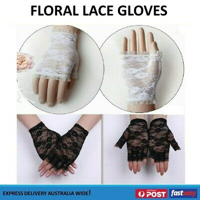 Black White Lady Party Costume Wedding Lace Fingerless Floral Gloves