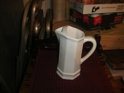 pfaltzgraff heritage pitcher white 32 oz. with ice saver top usa old castle mark