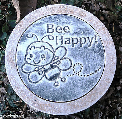 """10"""" stepping stone """"bee happy""""  plastic mold plaster concrete mould"""