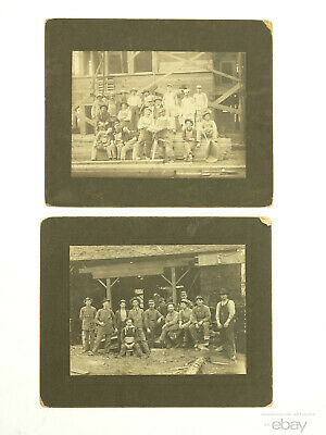 Pair Antique Occupational Cabinet Card Photo of Loggers Gray's Harbor, WA