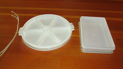 Vintage Tupperware Divided Tray & Bacon/Meat Container w/Lids  - Frosted White
