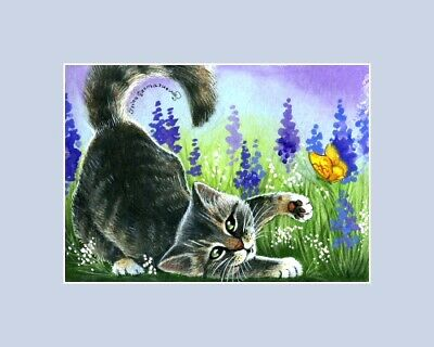 Tabby Cat ACEO ATC Games In The Meadow an original by Irina Garmashova