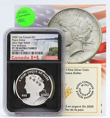 2020 Canada Peace Dollar 1 oz Silver Proof NGC PF70 UHR $1 Coin - JD349