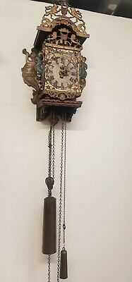 RARE 18th Century Verge Frisian Dutch Wall clock Staartklok Stoelklok