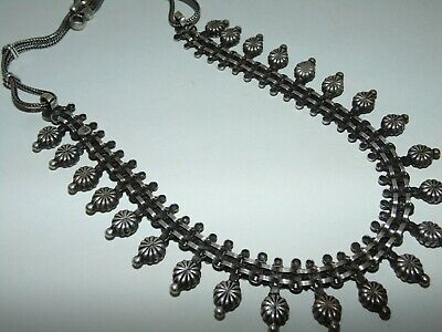 """Vintage Sterling Silver Drapery Bookends Links Tribal Ethnic Necklace 18"""" Ornate"""