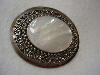 Sterling - 925 - Large Mother Of Pearl Combo Brooch Pendant