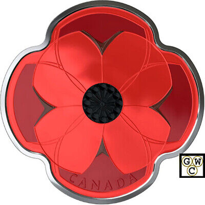 2019 'Remembrance Day' Poppy-Shaped Proof $10 Fine Silver 1/2oz. Coin (18848)NT