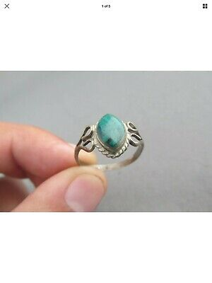 VINTAGE Antique 950 SILVER STERLING MARQUISE MALACHITE RING