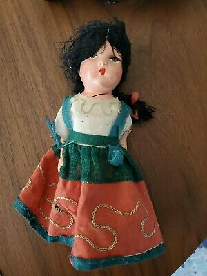 Antique/Vtg Painted Bisque Head Doll Cloth Body Kathe Kruse Type/Look