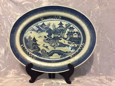 """Beautiful Blue And White Chinese Canton Platter 14 1/2"""""""