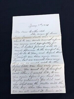1901 Letter Death Of A Child