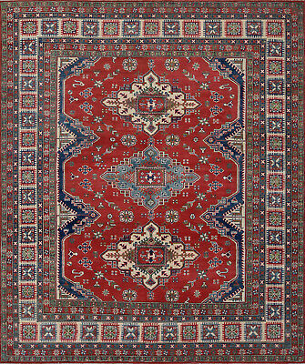 Tribal Kazak Rug, 8' x 10', Red/Blue, Hand-Knotted Wool Pile