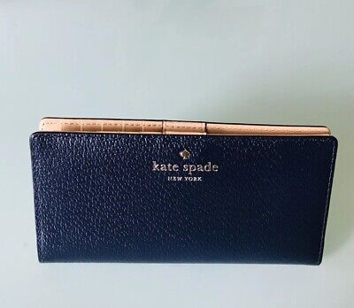 New Kate Spade Stacy Grand Street Pebble Leather wallet Oceano (dark Navy color)