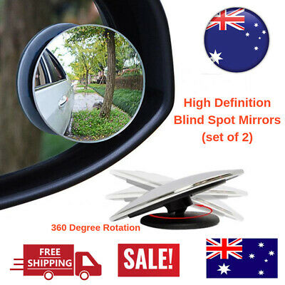 2x Blind Spot Mirror Rimless HD Glass Wide Angle 360° Convex Mirrors Rear View