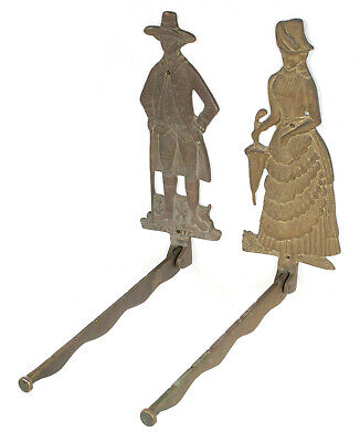 Vintage Edwardian Man & Woman Brass Wall Mounted Clothes Hanger - EXCELLENT!!!