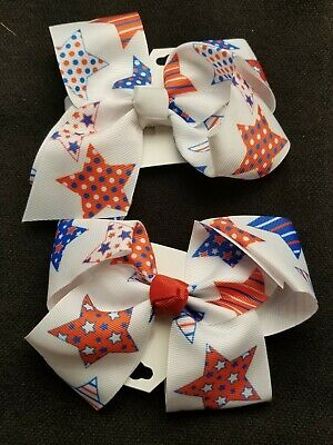 Girls Hair Bows-Lot of 2- Red White Blue-Patriotic Appx  6x3""