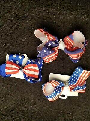Girls Hair Bows-Lot of 3- Red White Blue-Patriotic Appx  6x3""