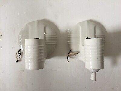 Antique Vintage White Porcelain Art Deco Pair Wall Light Fixture Sconces