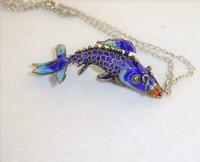 Vintage Chinese Sterling Enamel Articulated Koi Fish Pendant Necklace