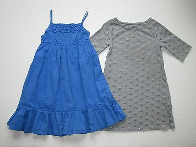 Cherokee Faded Glory lot 2 girls gray polka dot blue summer dresses sz 7 sz 8