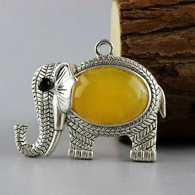 Colect Old Miao Silver Inlay Amber Hand-Carved Elephant Moral Auspicious Pendant