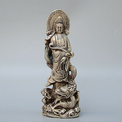 Collect China Old Miao Silver Hand-Carved Guan Yin Ride Dragon Exorcism Statue