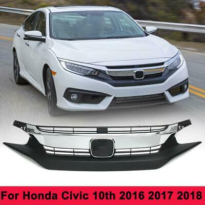 Front Upper Bumper Chrome Billet Grille Grill For Honda Civic 10th 2016 2017 18