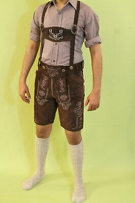 Bavarian Lederhosen Oktoberfest real leather embroidered short pants DARK BROWN