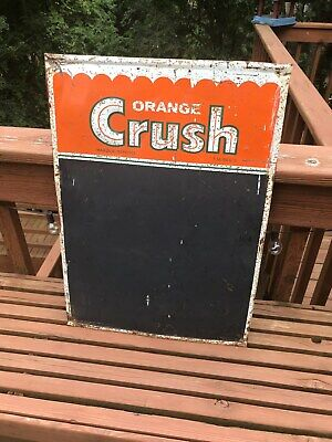 Vintage 1950's Orange Crush Soda Pop Menu Chalkboard Embossed Tin Sign Canada