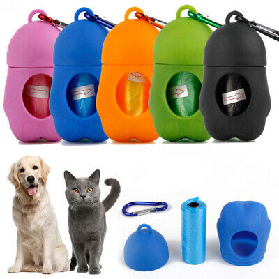 Dog Poop Waste Bag Holder Dispenser With Lead Attachement Plastic Dogs Poo Bags